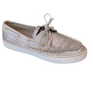 Sperry Silver Sparkle Boat Shoes Loafers Ladies 8